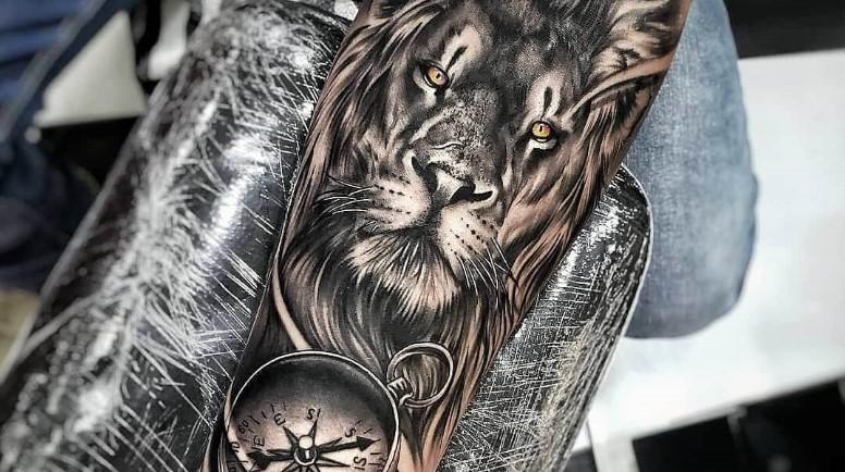 12+ Best Lion & Compass Tattoo Designs
